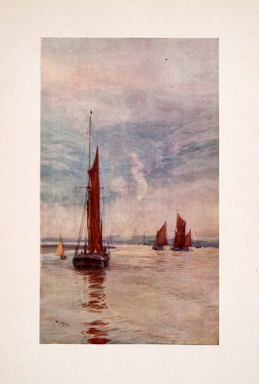 1905 Print Sovereign Reach Sailboat Barge Thames River William Lionel Wyllie Art