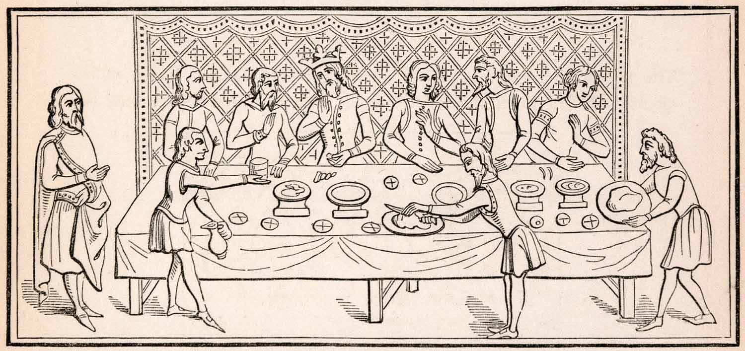 1862 Wood Engraving Frederick William Fairholt King Dinner Supper Table XGBA4