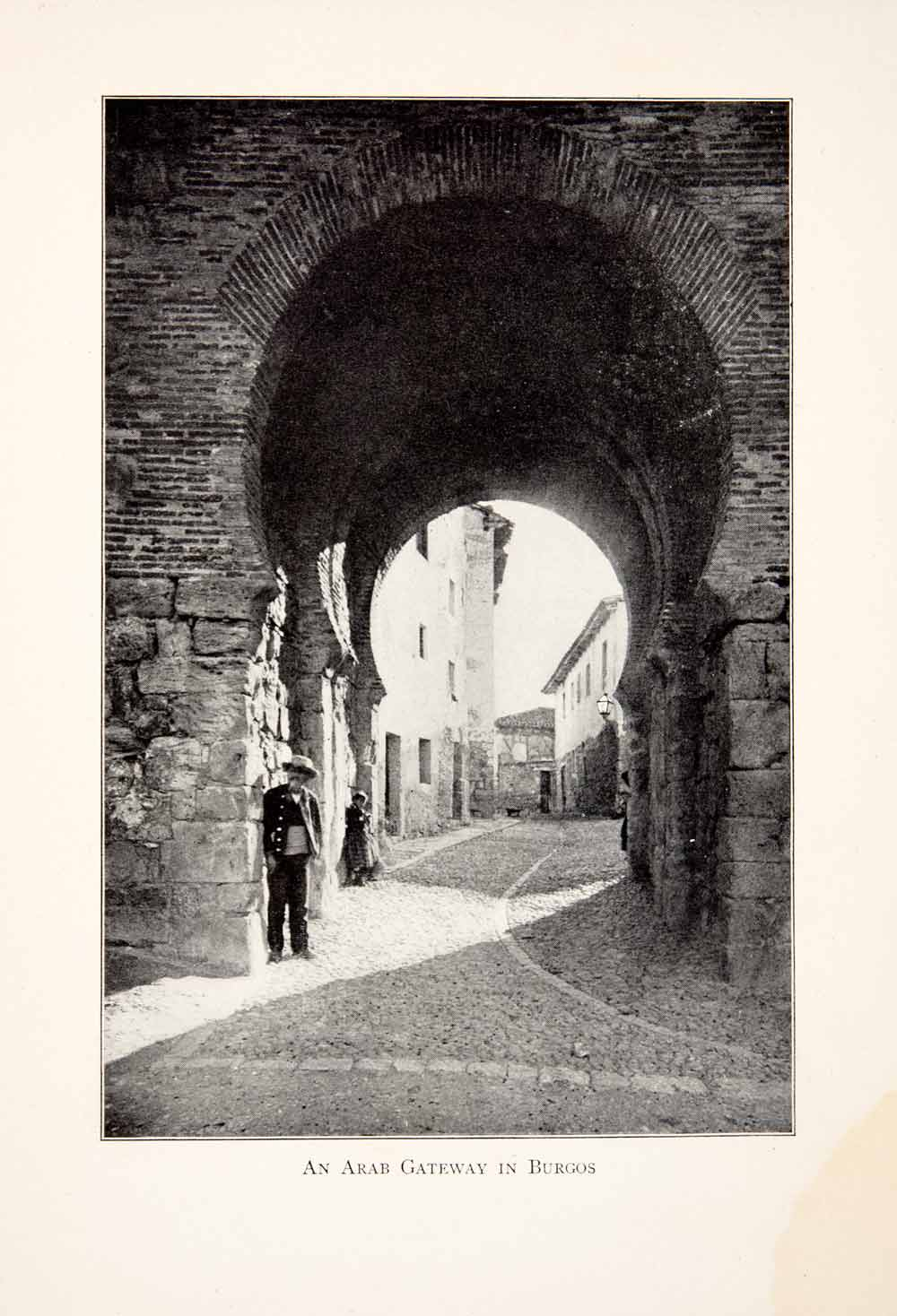 1901 Print Arab Gateway Burgos Spain Historic Architecture Street Scene XGBB3