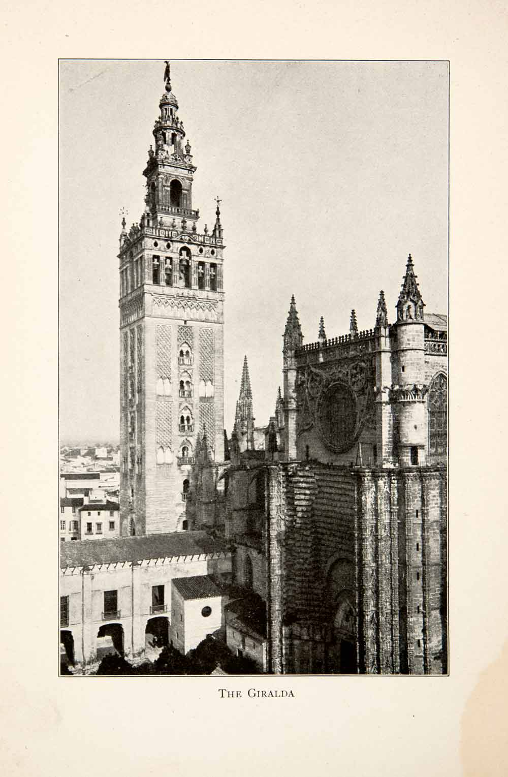 1901 Print Giralda Bell Tower Cathedral Seville Spain Historic XGBB3