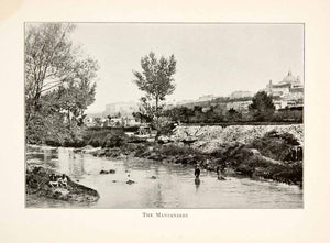 1901 Print Manzanares River Spain Landscape Cityscape Waterway Railroad XGBB3
