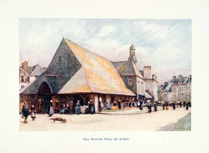 1906 Color Print Old Market Hall Auray Brittany France Architecture Arthur XGBB4