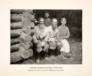 1901 Print Russia Peasants Izba Timber Built Dwelling Smoking Beards Logs XGBC2