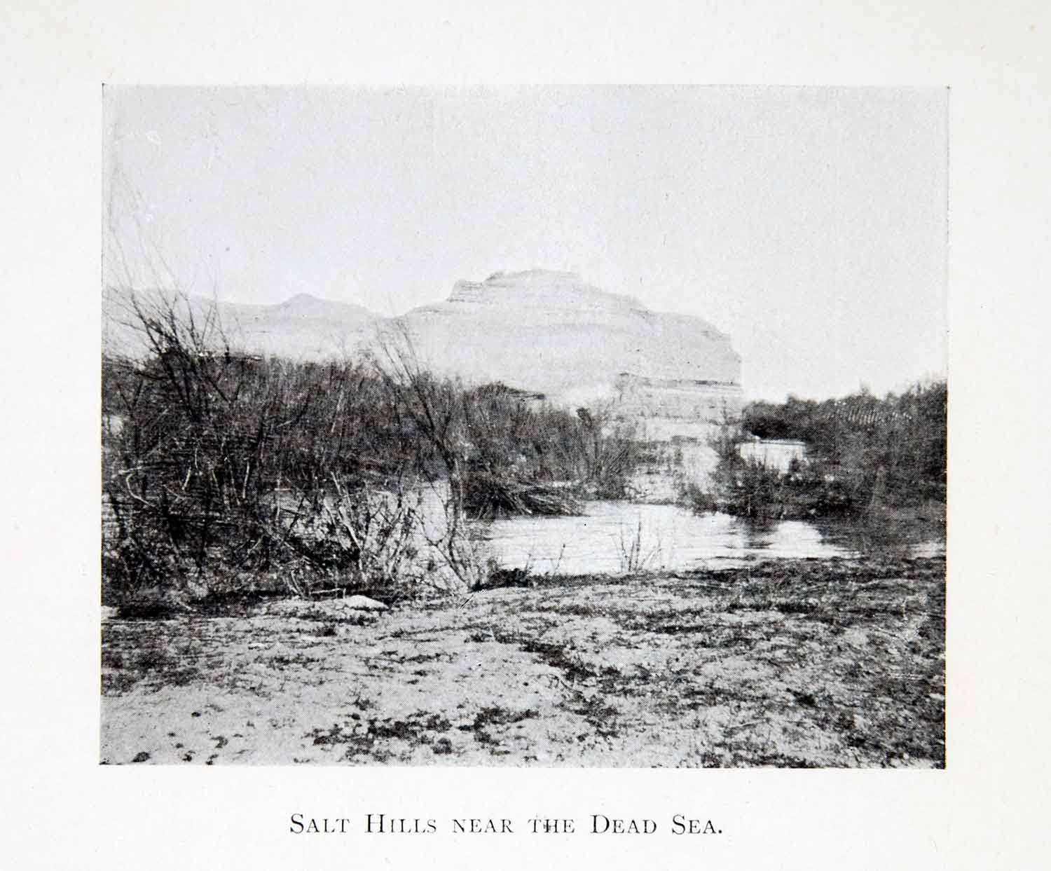 1904 Print Salt Hill Dead Sea Middle East Landscape Desert Historical XGBD5