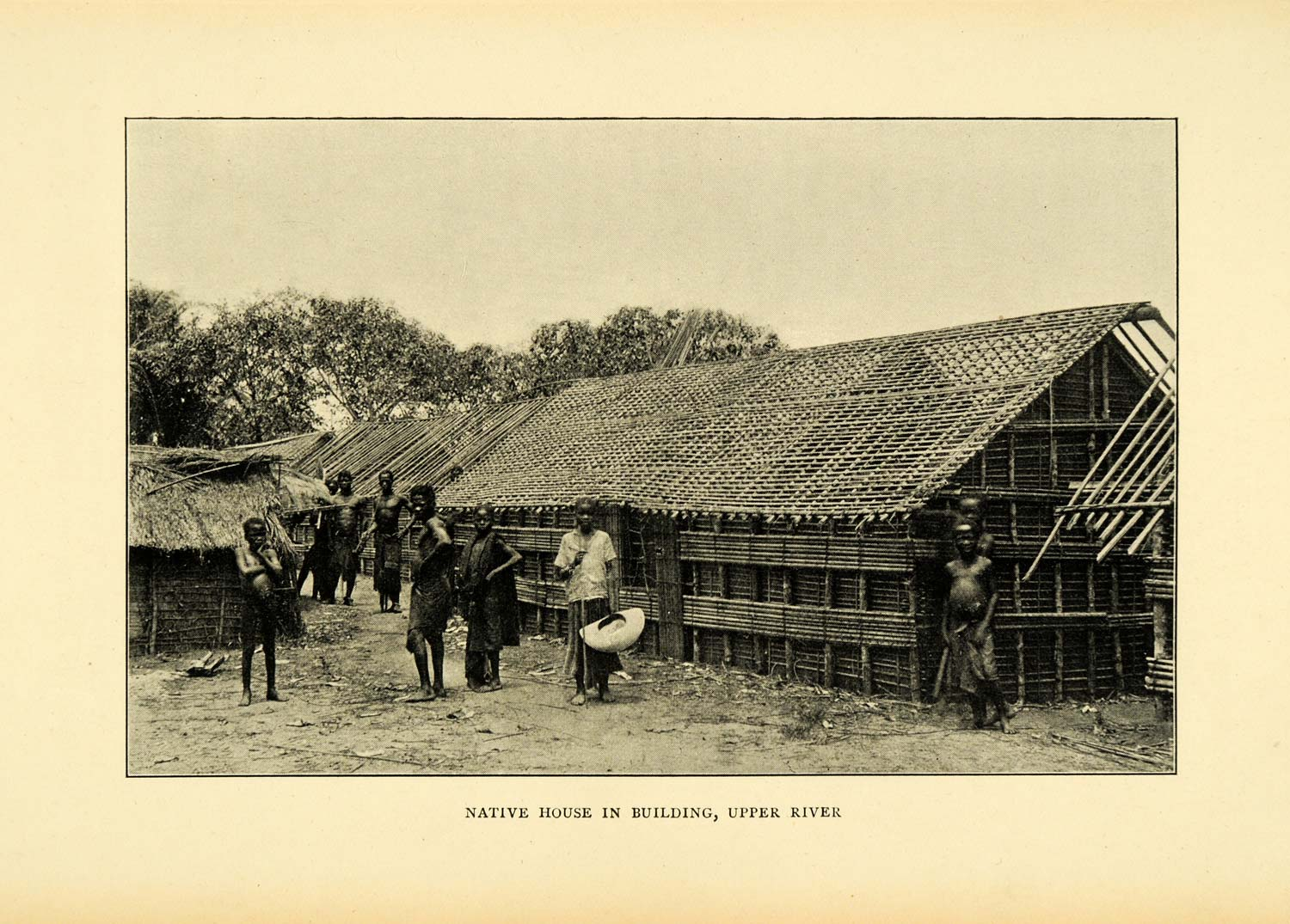 1900 Print Congo Africa Indigenous Cultural Natives Building Home XGC4
