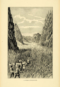 1900 Wood Engraving Congo Africa Jungle Grass Path Natives Travel Machete XGC4