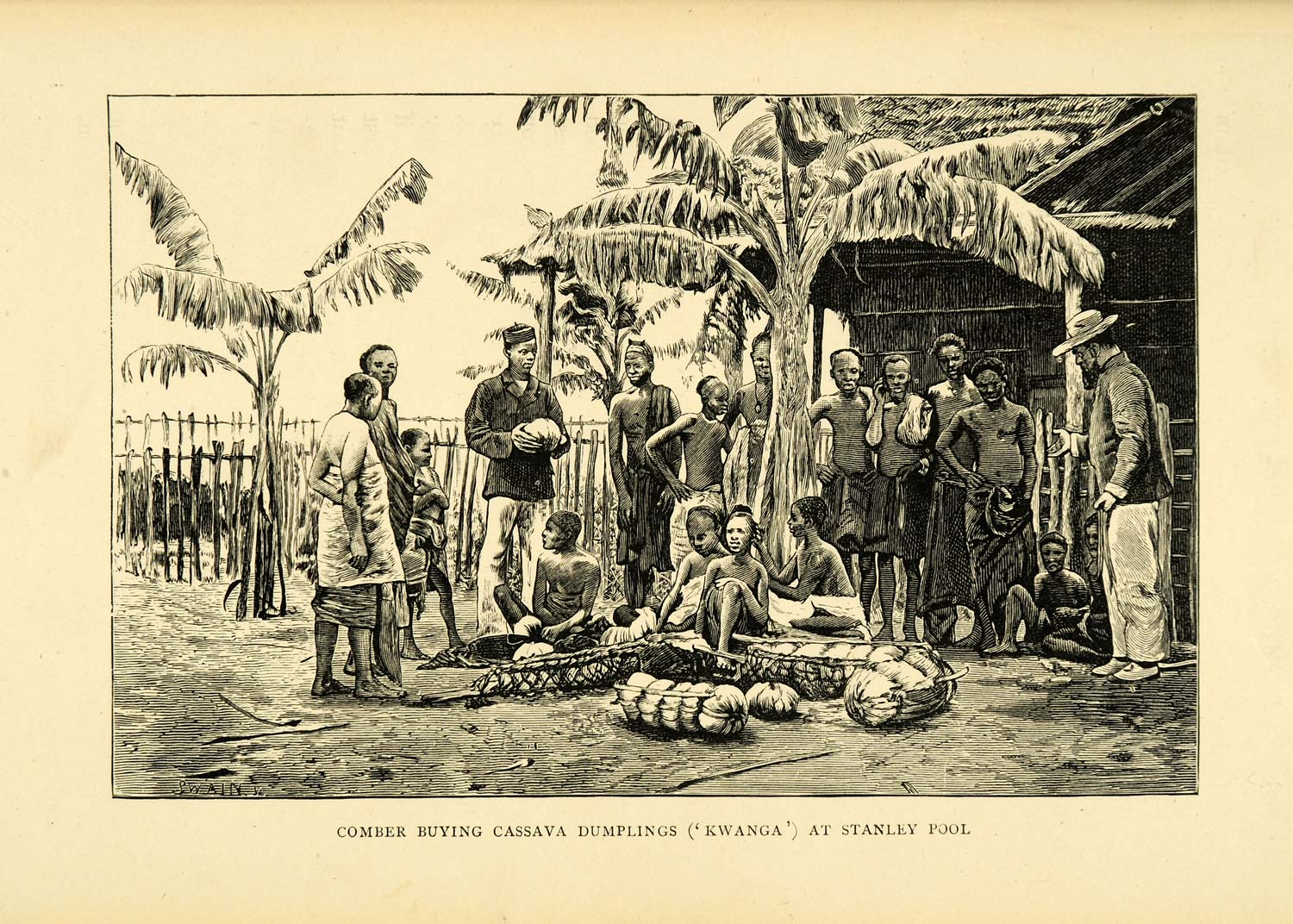 1900 Wood Engraving Comber Buying Cassava Dumplings Kwanga Stanley Pool XGC4