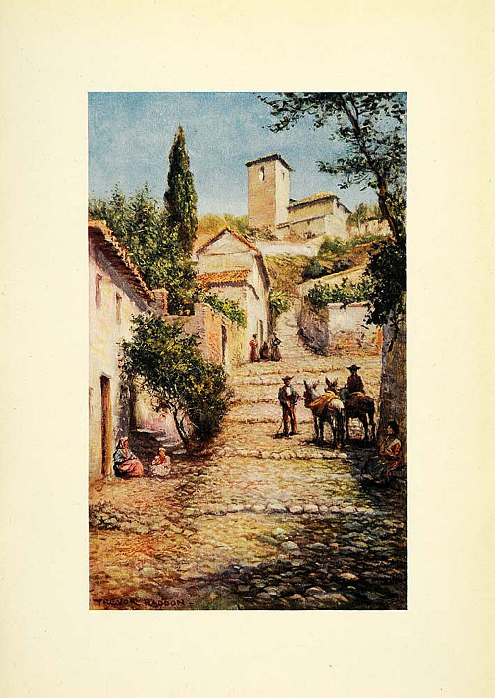1908 Print Trevor Haddon Art Old Quarter Granada Spain Street View XGC5