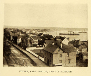 1911 Print Sydney Cape Breton Island Harbor Ship Boat Housing Canada Nova XGC6
