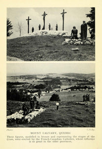 1927 Print Mount Calvary Quebec Canada Catholicism Cross Crucifix Cemetery XGC7