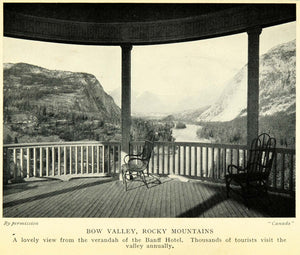 1927 Print Bow Valley Rocky Mountains Banff Hotel Tourism Verandah Canada XGC7