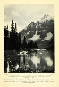1927 Print Consolation Lake Louise Rocky Mountains Landscape Scenery Art XGC7