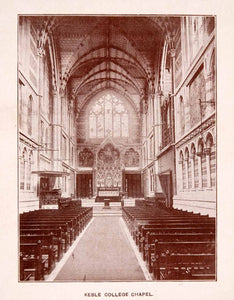 1900 Print Keble College Chapel Nave Bar Tracery Rib Vault Altar Oxford XGCA4