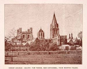 1900 Print Christ Church Belfry Tom Tower Cathedral Merton Fields Gothic XGCA4
