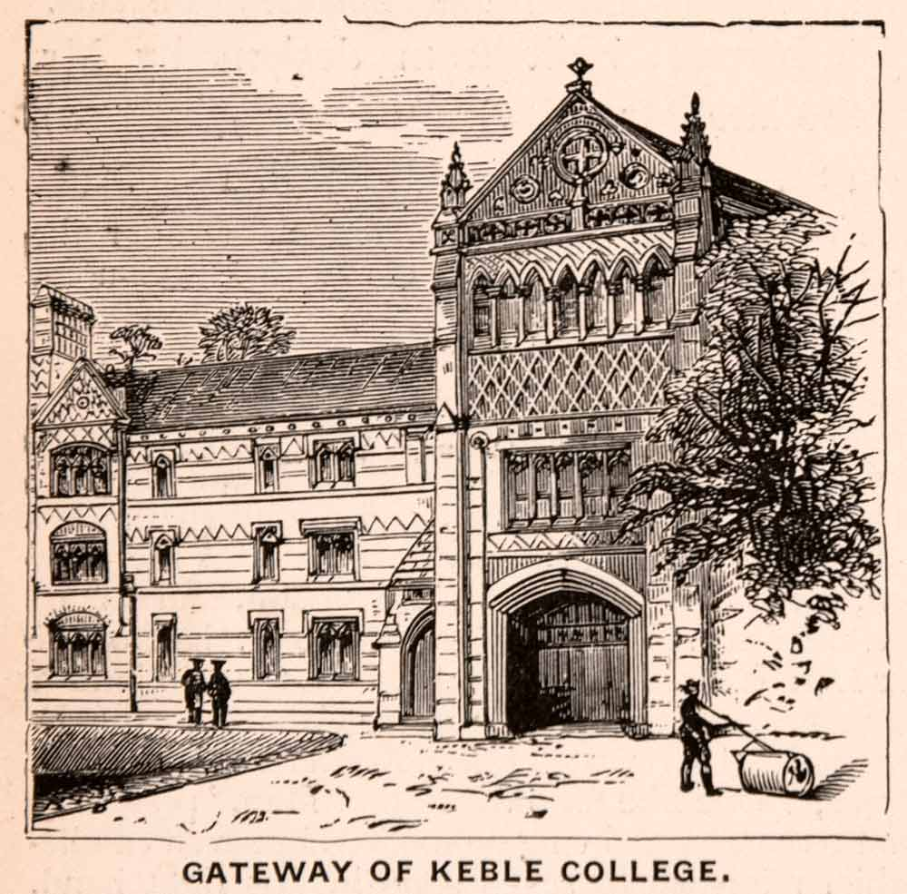 1900 Wood Engraving Gateway Keble College Victorian Gothic William XGCA4