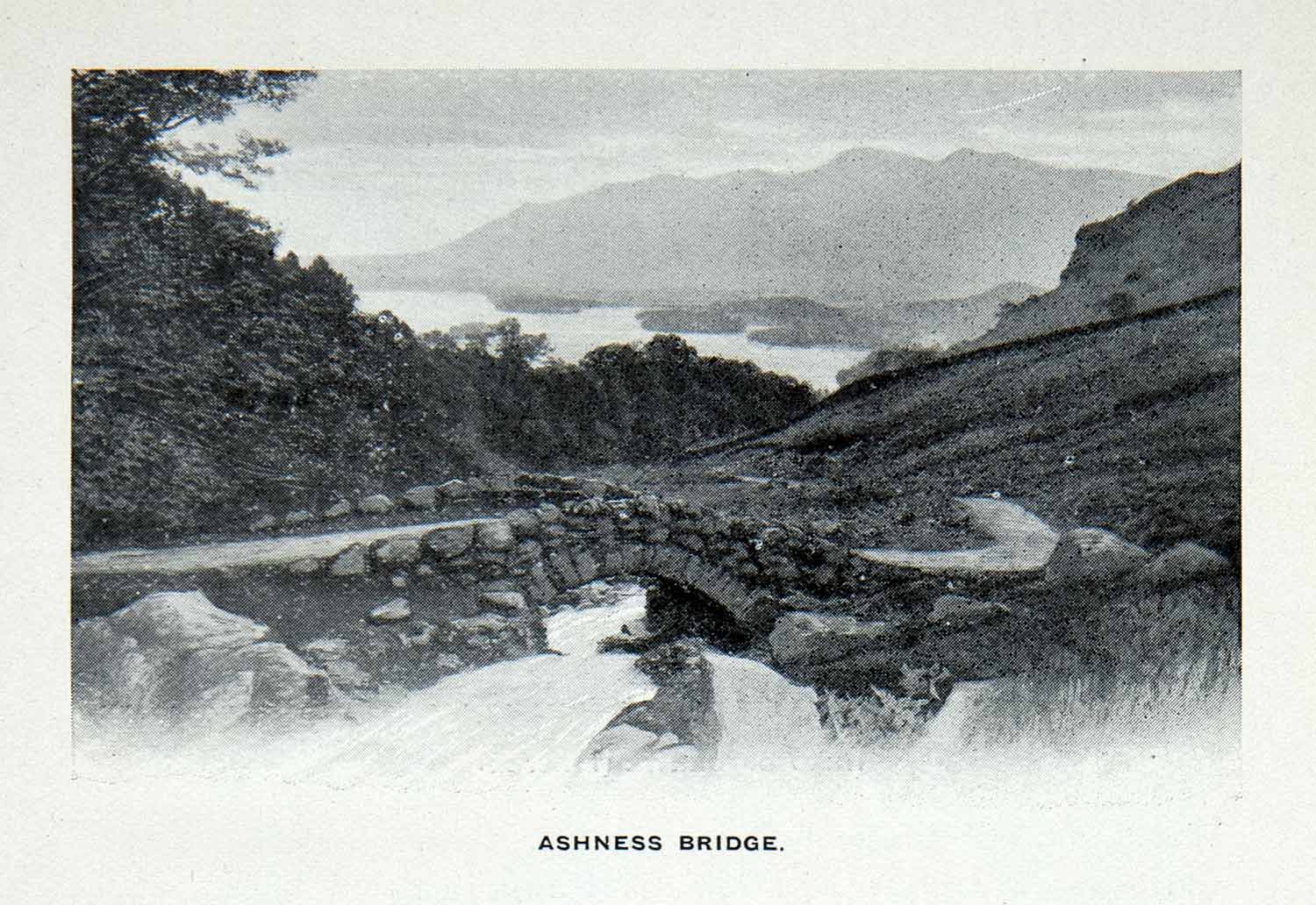 1912 Print Stone Ashness Bridge Cumbria Landscape English Lake District XGCA7