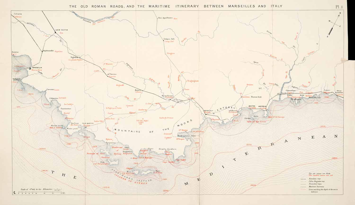 Map Of France Roads.1895 Lithograph Maps Mediterranean France Italy Roman Roads Maritime Route Xgca8