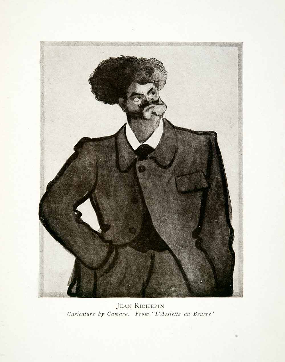 1928 Print Jean Richepin Thomas Camara Caricature Cartoon Writer Dramatist XGCB1