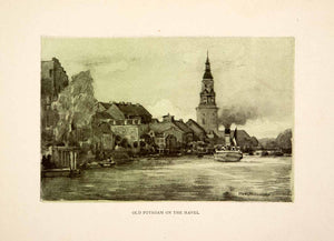 1909 Photolithograph Hans Herrmann Old Potsdam River Havel Germany XGCB3