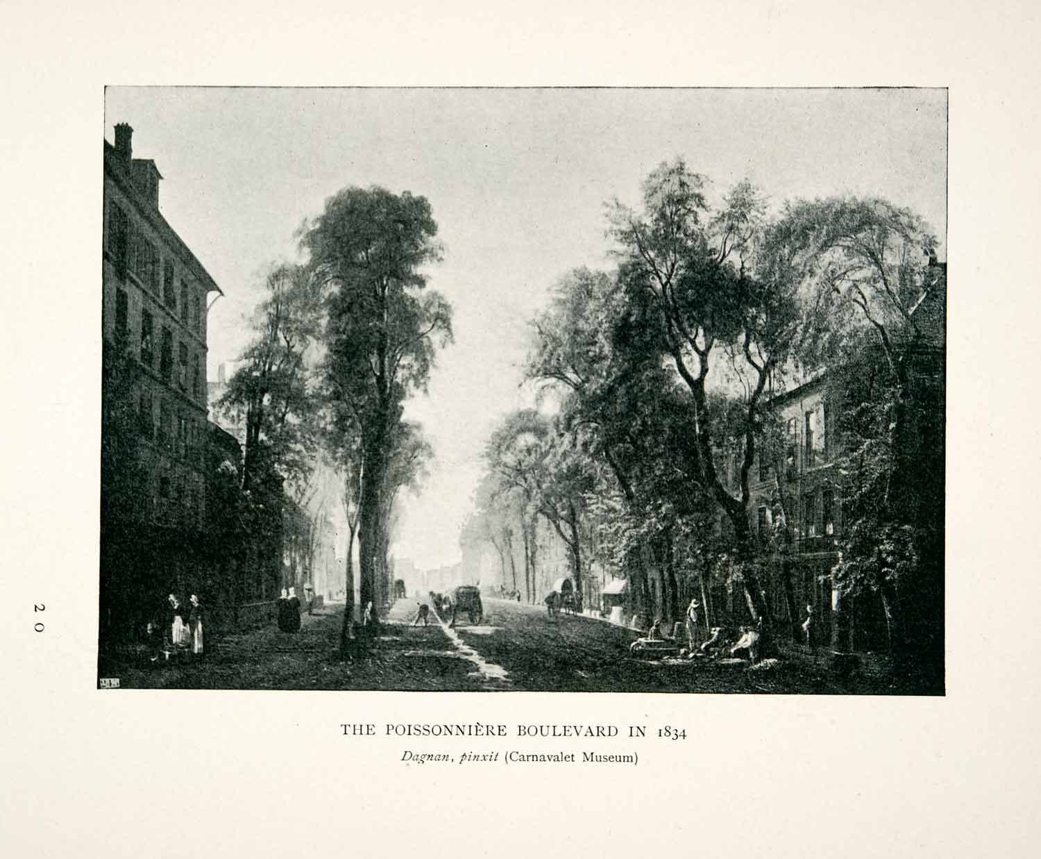 1907 Print Poissonniere Boulevard Paris France Trees Roadway History XGCB4