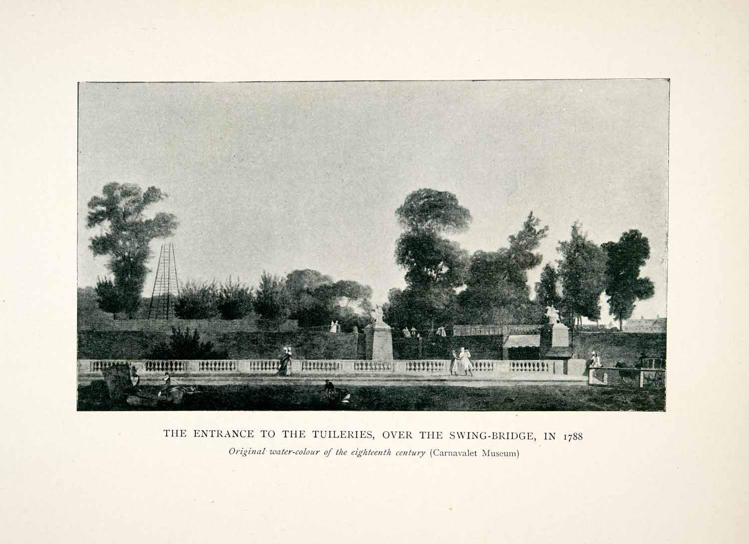 1907 Print entrance Tuileries Swing-Bridge Paris France Botanical Gardens XGCB4