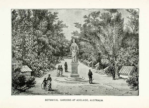 1888 Wood Engraving Botanical Gardens Adelaide South Australia Statue XGCB5