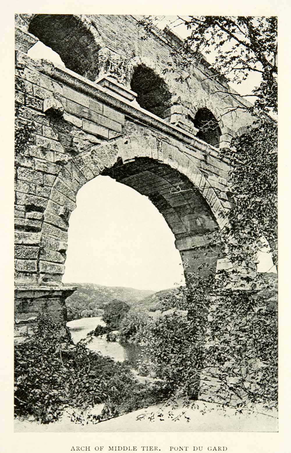 1910 Print Arch Middle Tier Pont Du Gard Roman Aqueduct Engineering XGCB8