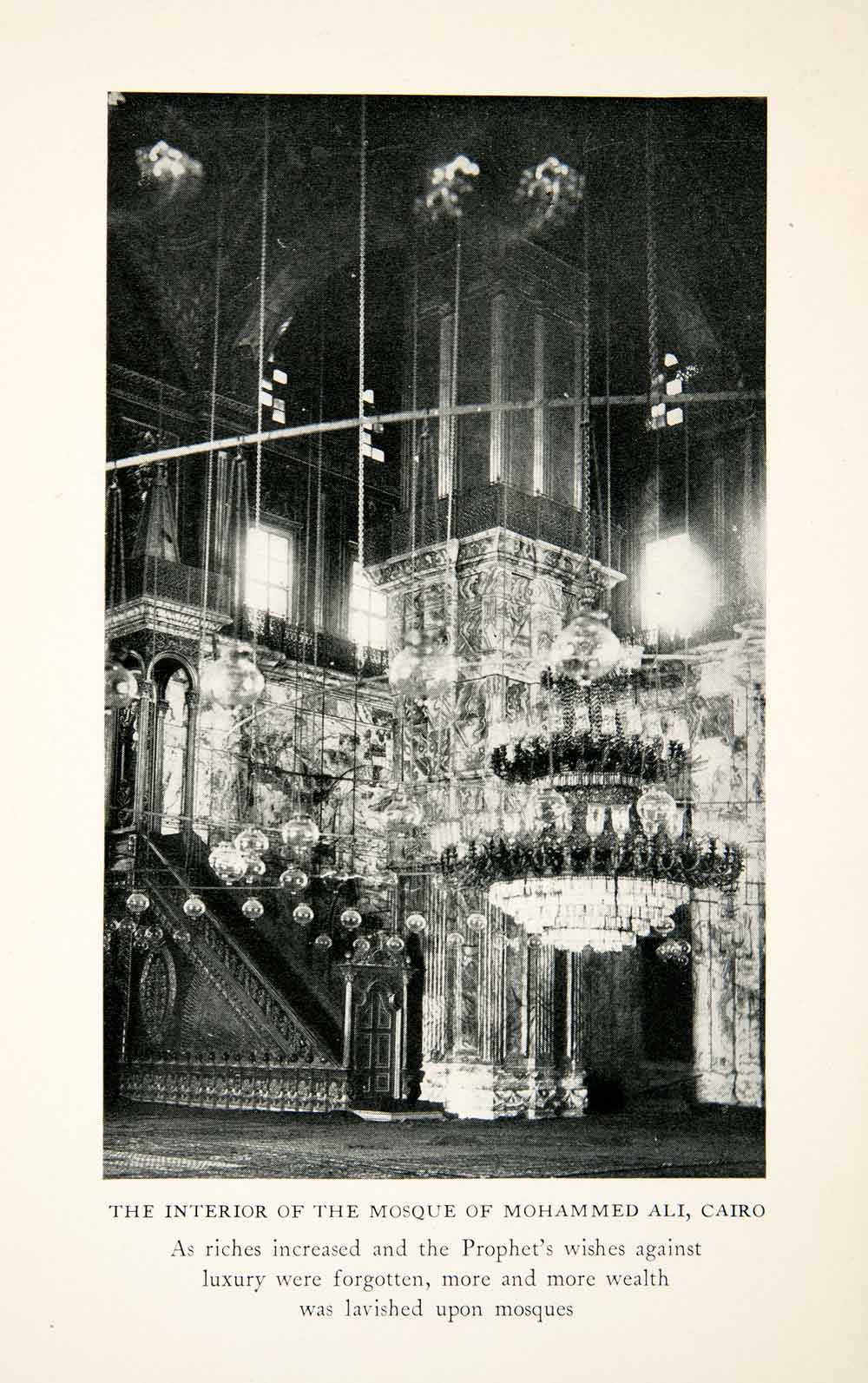 1928 Print Interior Mosque Chandelier Mohammed Ali Cairo Glass Egypt XGCC1