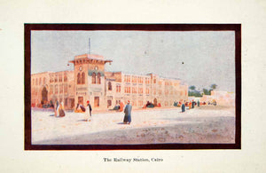 1908 Color Print Railway Station Cairo Egypt Africa People Building XGCC5
