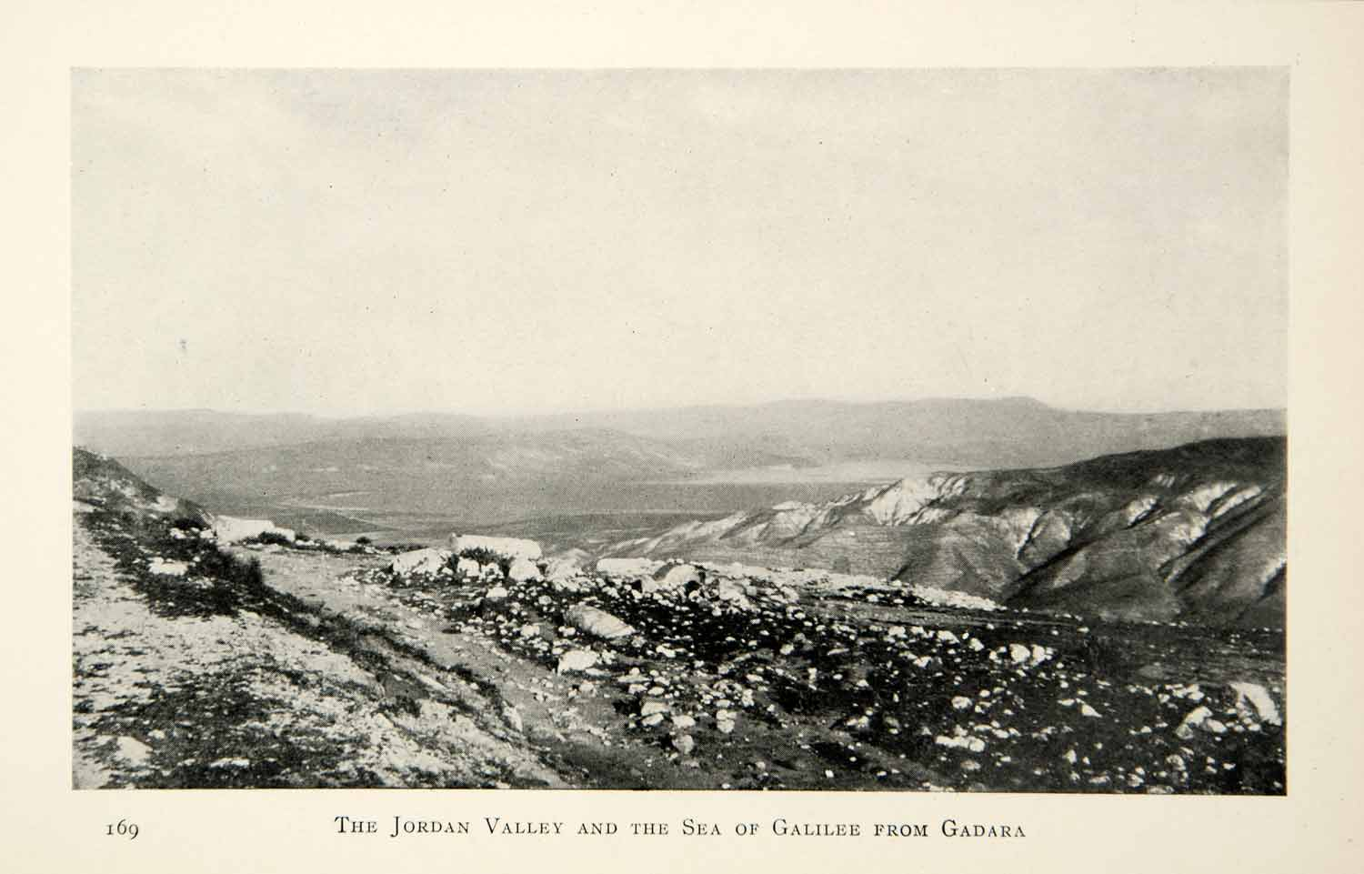 1905 Print Jordan Valley Sea of Galilee Gadara Middle East Landscape XGCD8