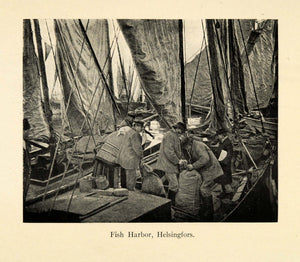 1918 Print Fish Harbor Helsingfors Helsinki Finland Fishing Coast Sailor XGD3