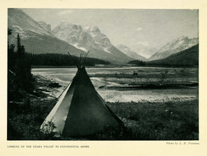 1925 Print Chaba Valley Continental Divide Mountain Rockies Tent Camping XGD4