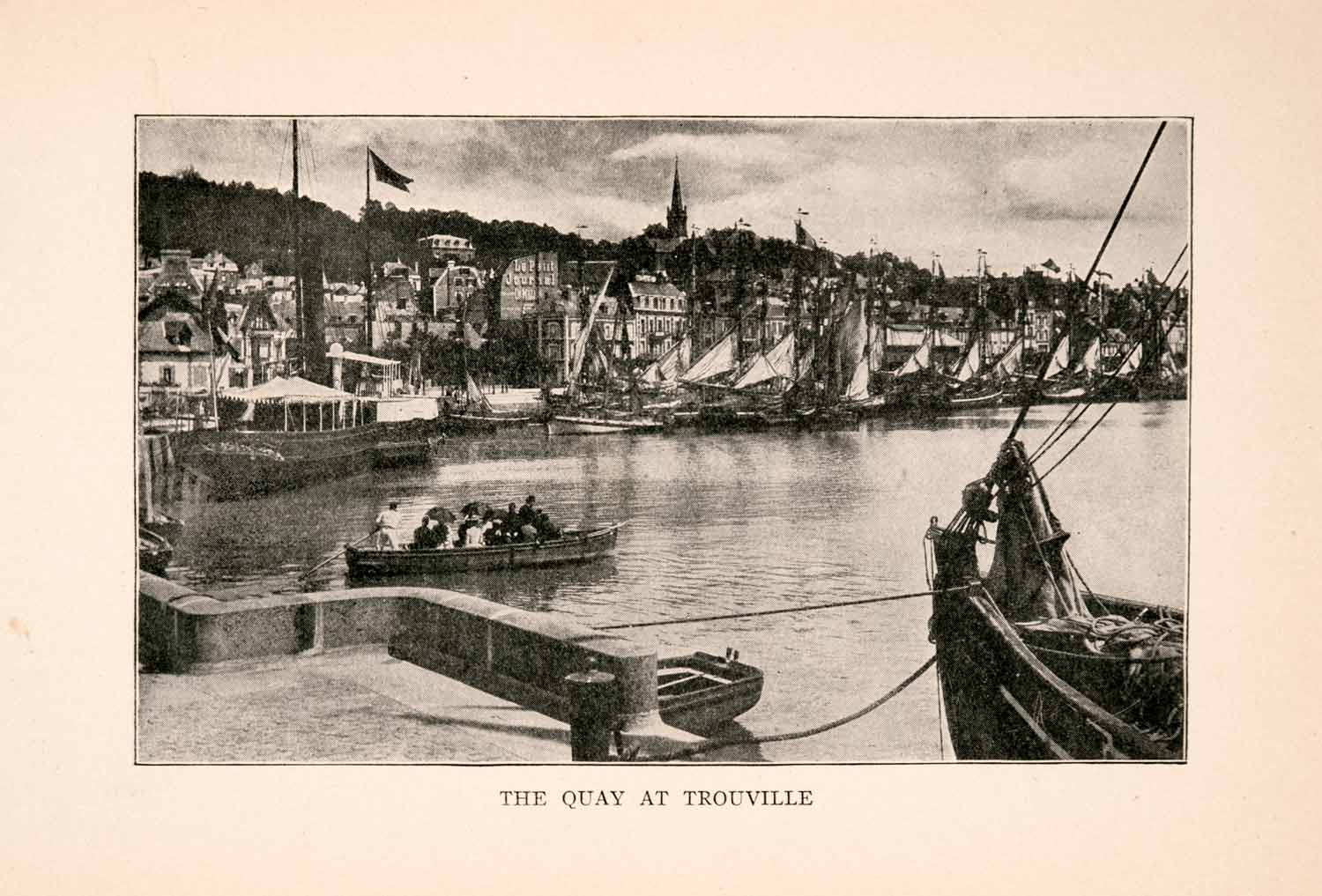 1905 Print Quay Trouville France Ships Seaport Water Homes Businesses XGDA1