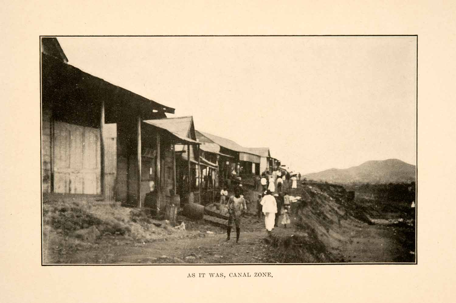 1908 Print Panama Canal Zone Construction Village Valley Homes Children XGDA2