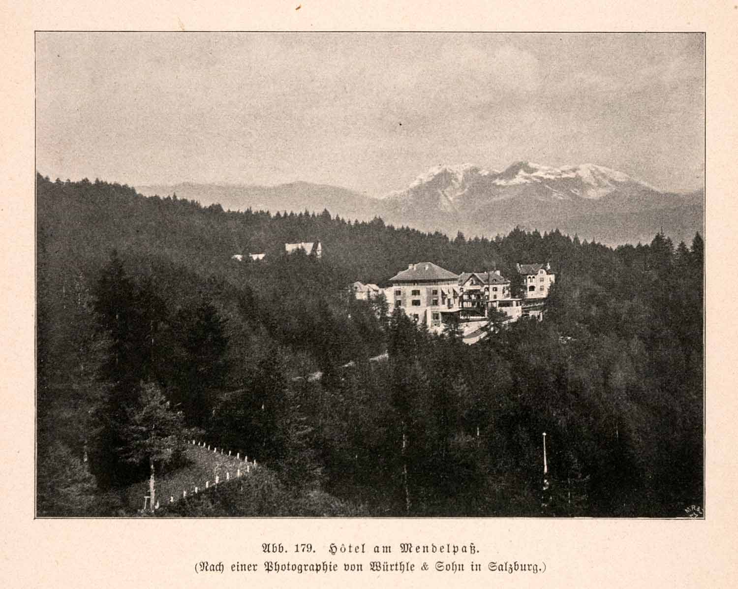 1899 Print Hotel Mendelpass South Tyrol Italy Trentino Alps Forest Lodge XGDA3