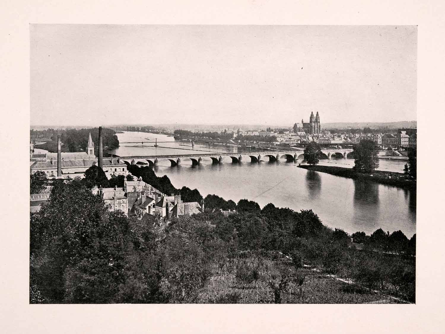 1906 Print Tours Cathedral Stone Bridge Loire River France Cityscape XGDA4