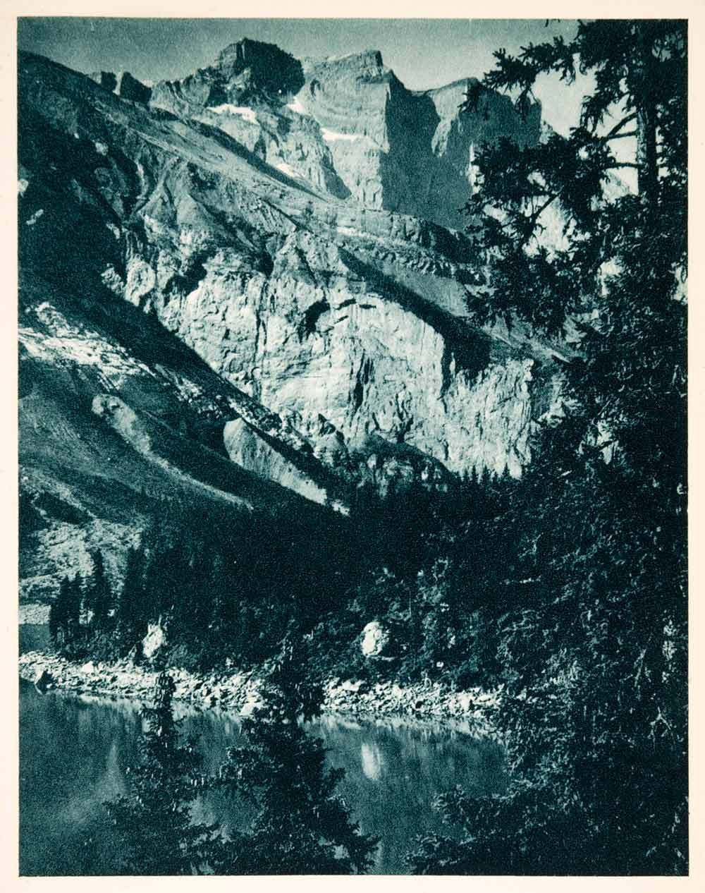 1937 Photogravure Castled Crags Oeschinensee Lake Mountain Cliffs Bernese XGDA6