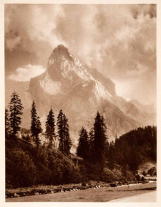 1937 Photogravure Wellhorn Graceful Mountain Bernese Alps Switzerland XGDA6