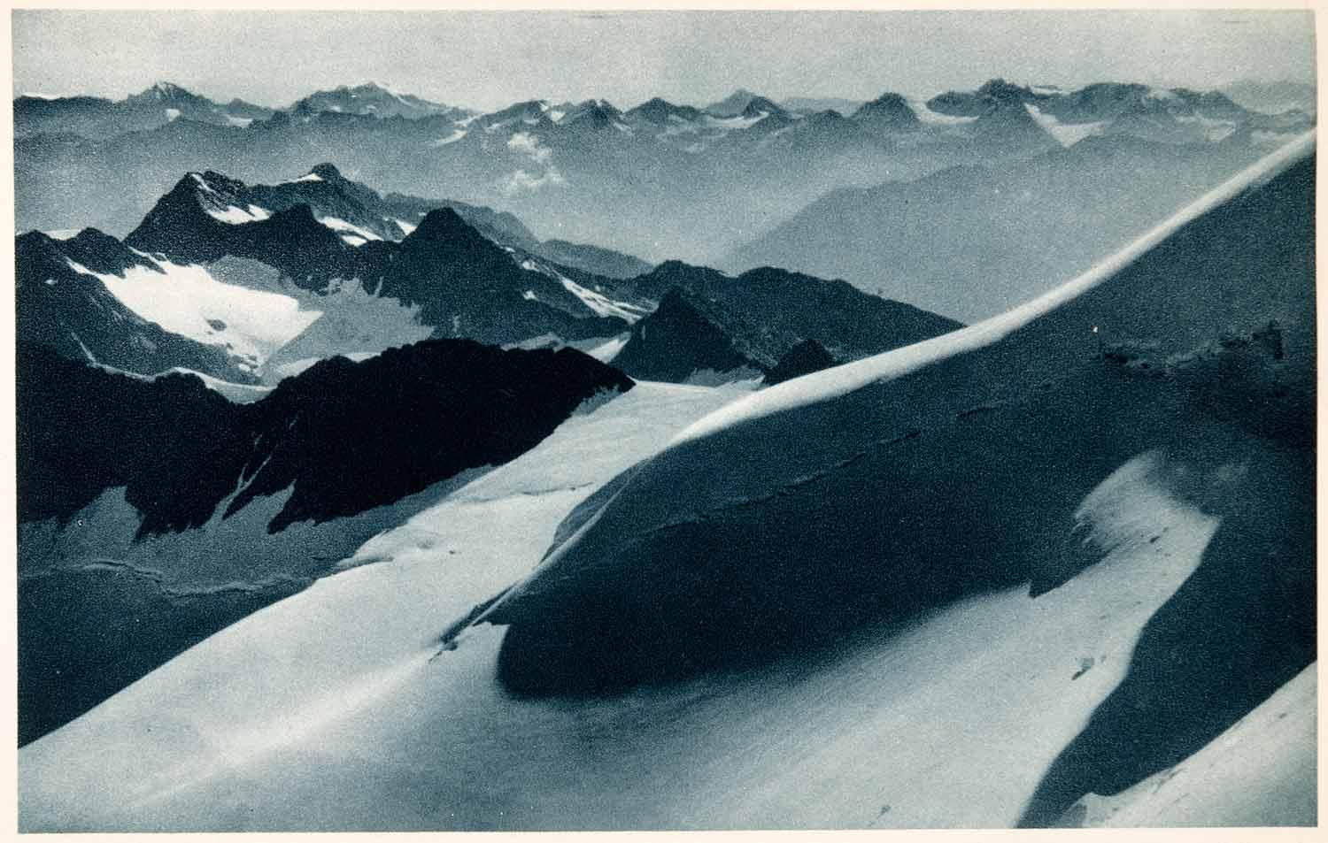 1937 Photogravure Otztal Alps Austria Tyrol Mountains Ranges Europe Snow XGDA6