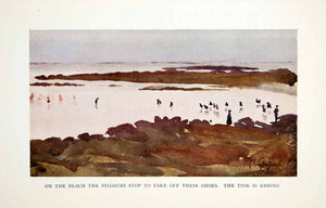 1906 Color Print Thomas Gotch Pilgrims Beach Shore Tide Lake Ocean Swim XGDB3