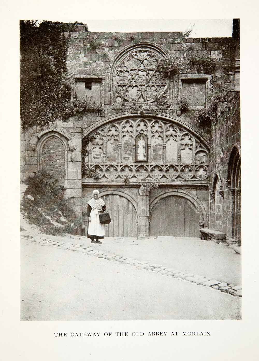 1906 Print France Gateway Door Abbey Morlaix Breton Commune Finistere XGDB3