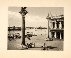 1902 Photogravure Saint Mark Square Piazza Lion Venice Italy Island XGDB6