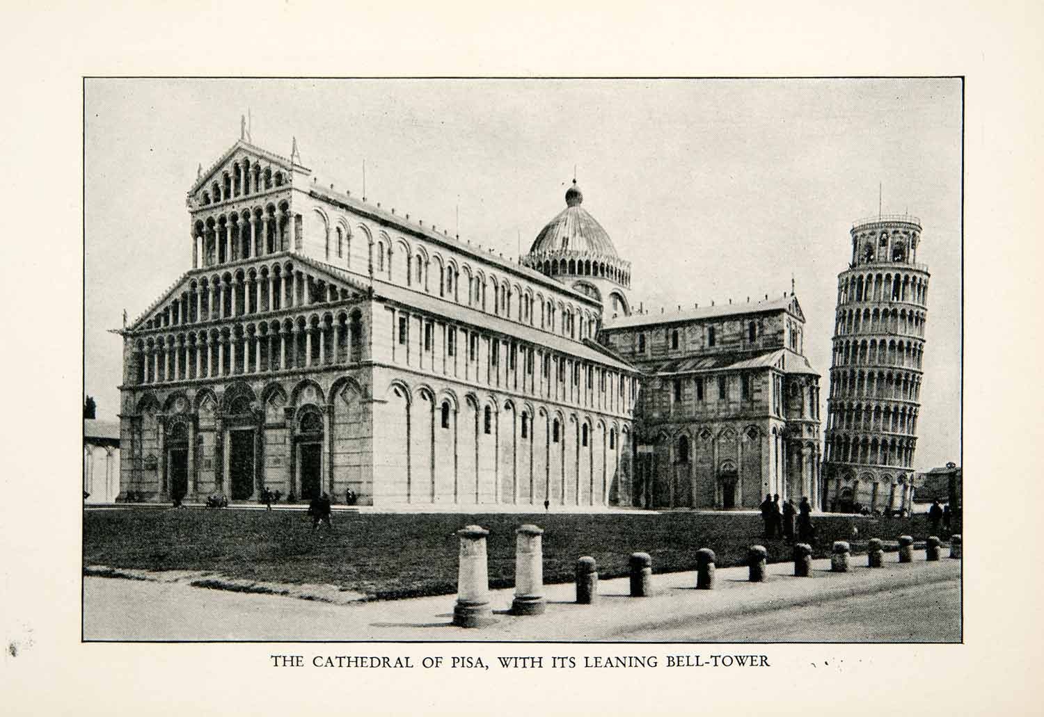 1927 Print Cathedral Square Piazza Duomo Pisa Leaning Tower Miracles XGDB9