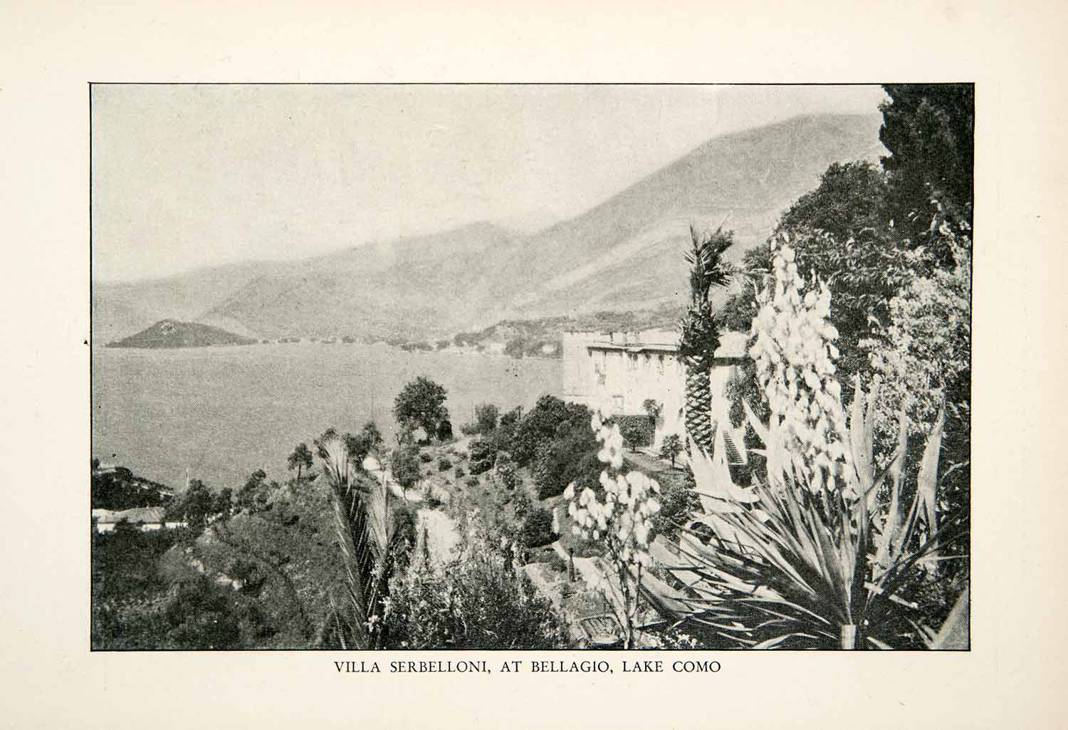 1927 Print Villa Serbelloni Bellagio Center Rockefeller Lake Como Italy XGDB9