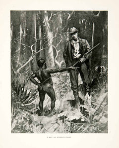 1900 Print Pygmy Forest Man Smoking Gun Rifle Short Pygmaios Plants Africa XGDC7