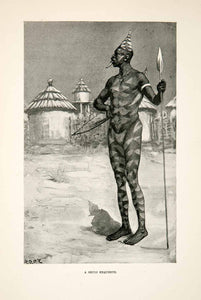 1900 Print Shuli Man Spear Painted Hut Bow Africa East Southern Acholi XGDC7