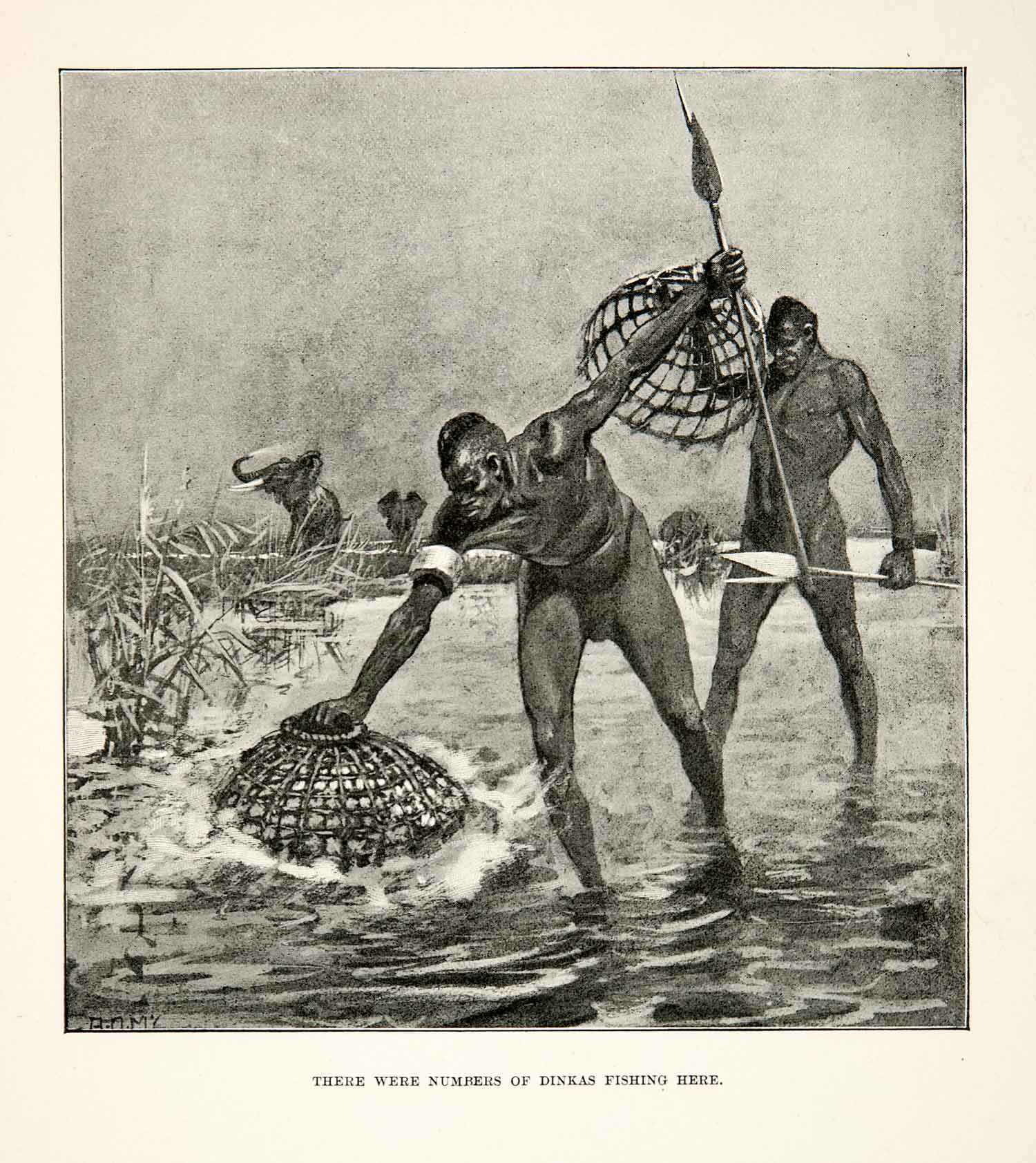 1900 Print Men Fishing Traps Spears Water Elephant Africa Nets Hunting XGDC7