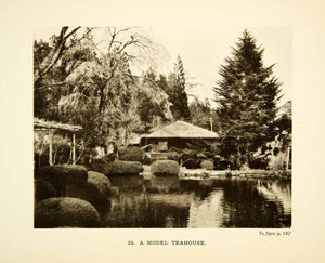 1904 Photogravure Model Teahouse Picturesque Japan Tree Pond Garden XGDD1