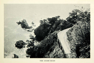 1932 Print Atami Road Japan Cliff Landscape Ocean Mountain Scenery Street XGDD4