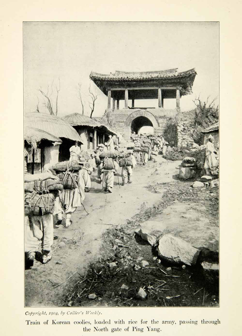 1904 Print Russo-Japanese War Ping Yang Gate Korean Coolies Backpacking XGDD5